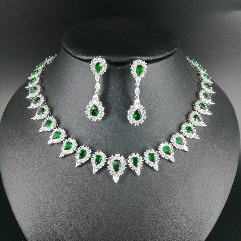 все цены на NEW FASHION retro green water drop zircon golden necklace earring wedding bride banquet dress formal jewelry set free shipping