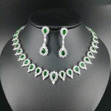 NEW FASHION retro green water drop zircon golden necklace earring wedding bride banquet dress formal jewelry set free shipping