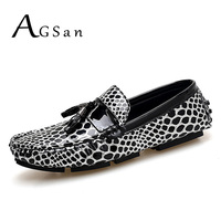 AGSan Leopard Men Loafers Slip On Tassel Loafers Driving Moccasins Gold Silver Driving Shoes Mocasines Hombre