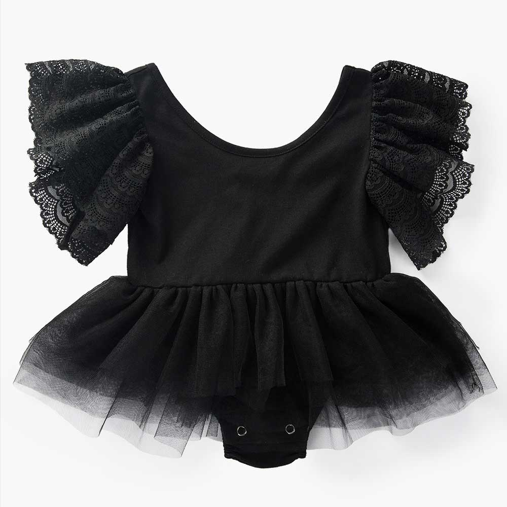 Clearance Newborn Mesh Flying Sleeve Baby Girl Rompers Backless Ruffle Mesh Infant Baby Baby Clothes Solid Cotton Jumpsuit
