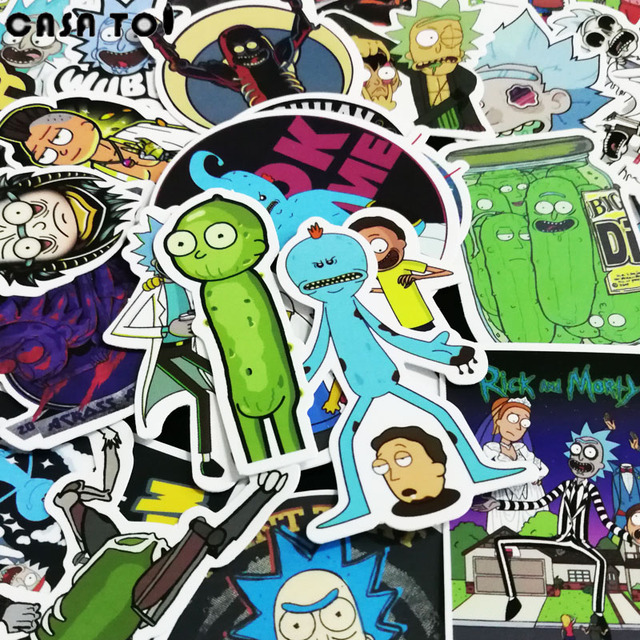 50Pcs Rick and Morty Waterproof Anime Sticker For Guitar Laptop Motorcycle Laptop Phone Stickers Skateboard Luggage Decal Toy
