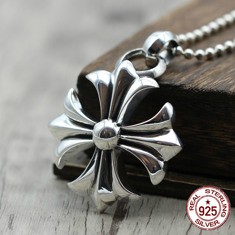 S925 sterling silver men's pendant personality fashion hip hop style cross shape punk style 2018 new gift to send lover fashion style