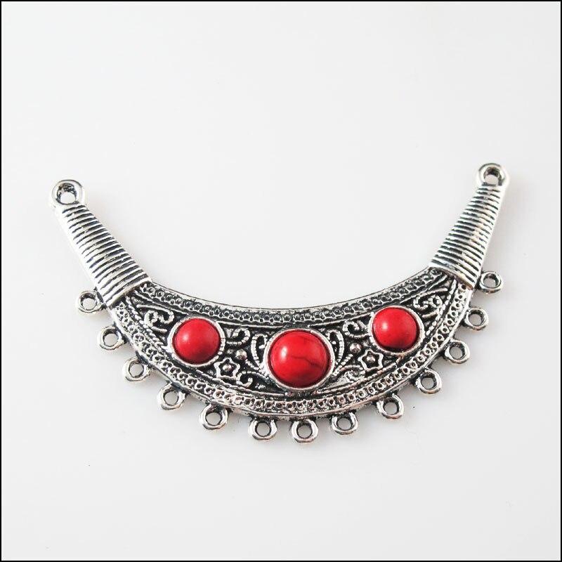 2 шт Ретро, тибетский серебряный красный подвеска в форме Луны разъемы 40x67.5mm|moon charm pendant|silver moon pendantconnector pendant | АлиЭкспресс