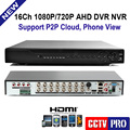 1080P AHD-H Hybrid 16 Channel CCTV DVR Recorder 3 In 1 Hybrid DVR 16Ch AHD DVR 1080P/720P Support For 2MP/1MP AHD Camera,CVBS
