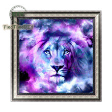 FineTime Animal Lion 5D DIY Diamond Painting Partial Round Drill Diamond Embroidery Cross Stitch Mosaic Painting finetime 5d diamond painting partial drill animal round diamond mosaic embroidery kit christmas decorations gift