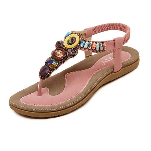 51138d6d47ba Online Shop Size 35-42 Summer Bohemia Flat Sandals Women Flip Flops Elastic  Band Thongs Wear-Resistant Soft Sole Outdoor Casual Shoes Woman