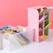 купить Multifunctional 4 grid desktop pen holder office school stationery holder box transparent white plastic stationery organizer по цене 457.81 рублей