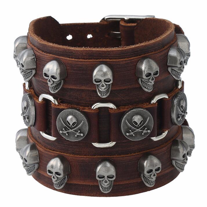 V Large en Cuir Bracelet Bangle Punk Cuff Bracelet Wrap Bracelet Fashion Jewelry
