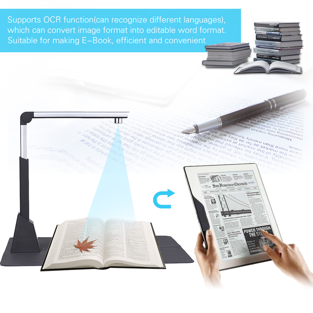 CMOS 10 Megapixel Document Scanner A3 A4 Book Scanner with OCR Function High Resolution Camera Scanner