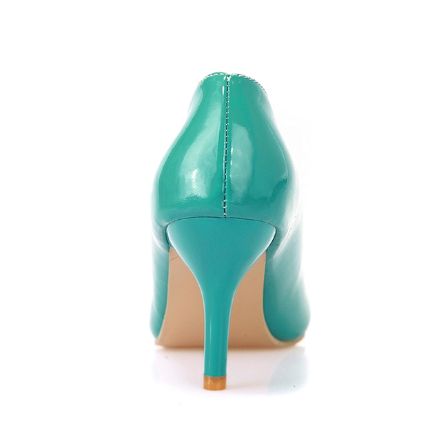 Brand New Sexy Black Yellow Green Apricot  Women Nude Glossy Pumps Ladies Med Heels Formal Shoes AMS809 Plus Big Size 46 10 12