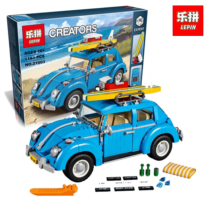 LEPIN 21003 1193Pcs new Creator Series City Car Beetle model Building Blocks Compatible 10252 Blue Technic LegoINGlys gift new lepin 21003 series city car beetle model educational building blocks compatible 10252 blue technic children toy gift