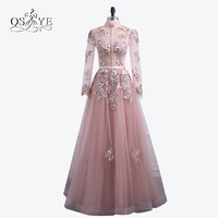 Vintage Saudi Arabia Pink Long Prom Dresses 2018 New Arrival High Neck Lace Beaded Tulle Long