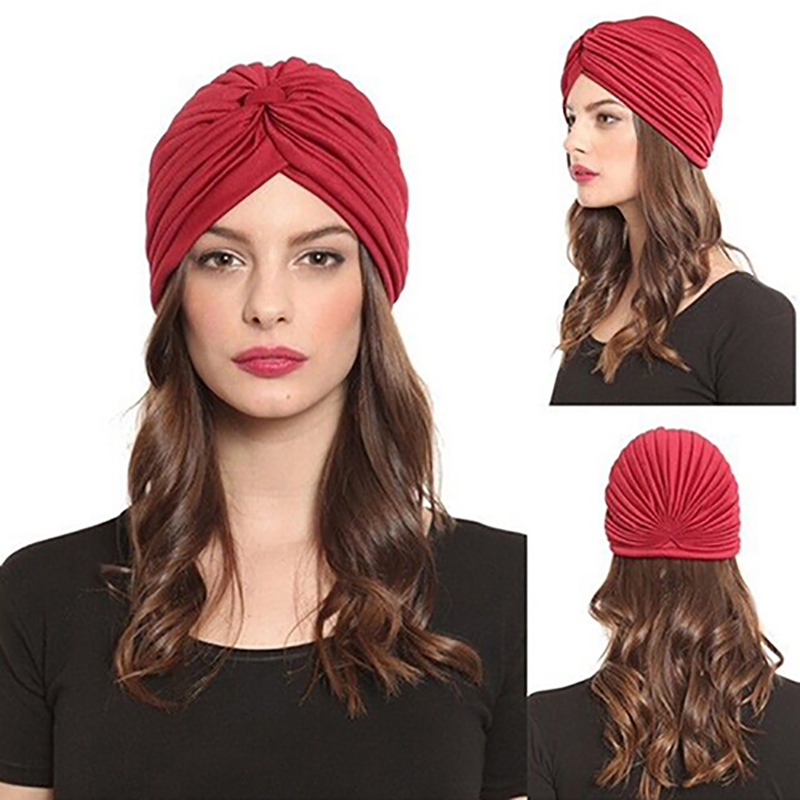 Women Stretchy Hat Turban Head Wrap Band Chemo Bandana Hijab Pleated Indian Cap women turban indian womensdate 19 color indian cap for women turban hats women s head wrap band hat beanies stretchy chemo bandana hijab 1pcs