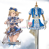 GRANBLUE FANTASY Game Anime Super Star Djeeta Dress Cosplay Costume Custom Fancy Lovely Plaid Short Sleeve Dress with Hair Band