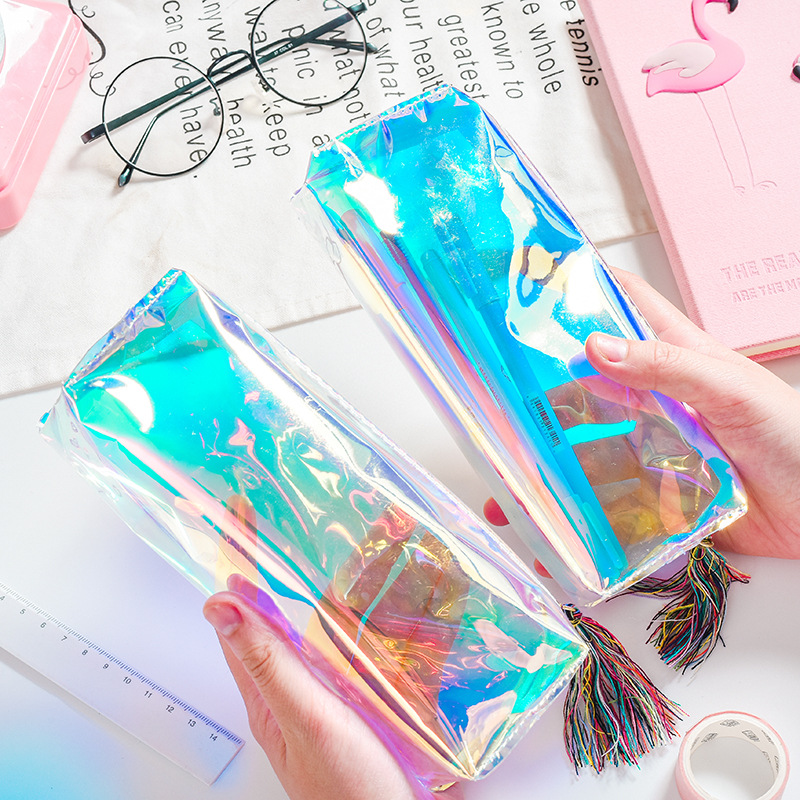 Kawaii Cool Laser Transparent Color Pencil Case School Supplies Bts Stationery Gift Pencilcase School Cute Pencil Box