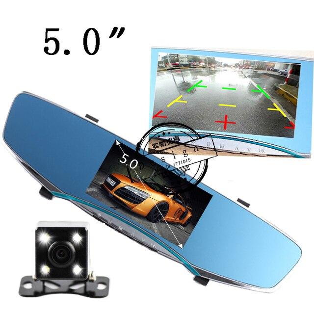 "5"" inch car camera rearview mirror auto dvrs cars dvr dual lens recorder video registrator dash cam full hd1080p night vision"