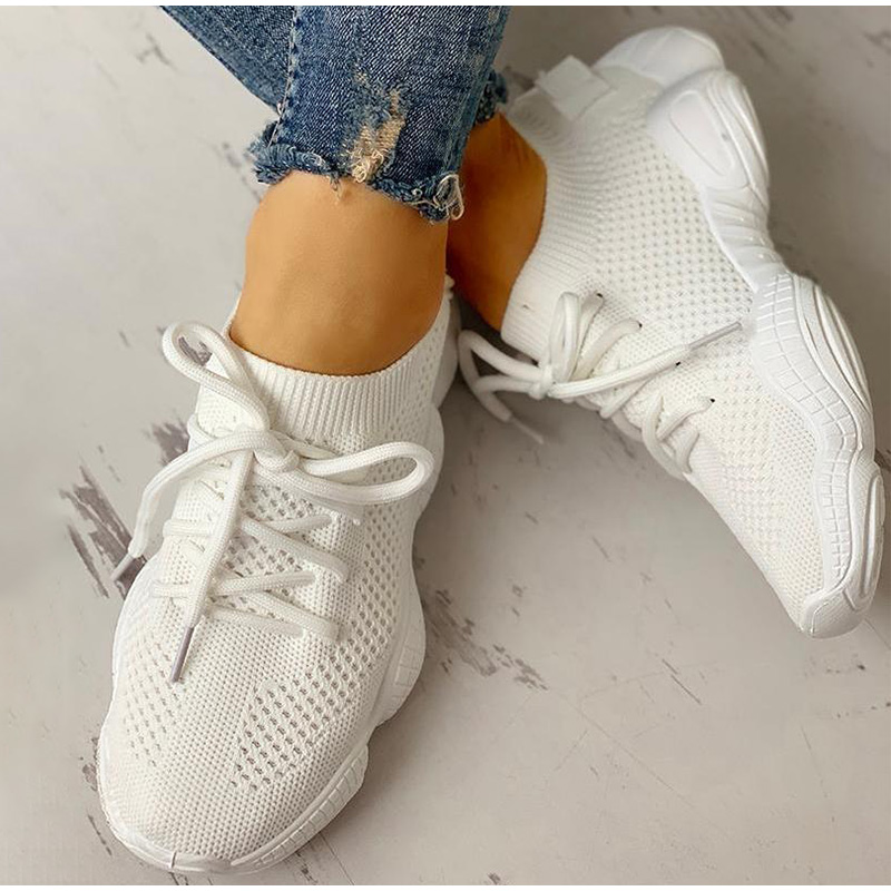 HTB1E.dwSwDqK1RjSZSyq6yxEVXaS Women Mesh Spring Sneakers Ladies Lace Up Stretch Fabric Platform Flat Vulcanized Casual Shoes Female Breathable Fashion