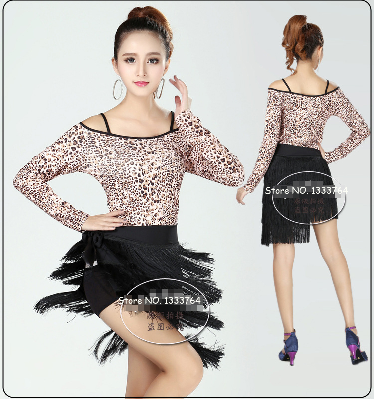 14adf5590682 2015 Sexy Plus Size Leopard Dress Dress Women Long Sleeve Latin Dance Dress  Female Tango Rumba Cha Cha Salsa Samba Rumba Costume-in Latin from Novelty  ...