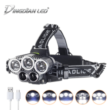 DINGDIAN LED USB Rechargeable Headlight 25000lm Headlamp 6 Modes 5 Quantity Cree Source Outdoor Flashlight Lantern 18650 Battery