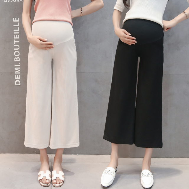 d8db384ca098a 2018 Maternity Summer Ninth Pants for Pregnant Women Cropped Leggings Thin Belly  Capris Beige Black Capris Trousers Wide Leg