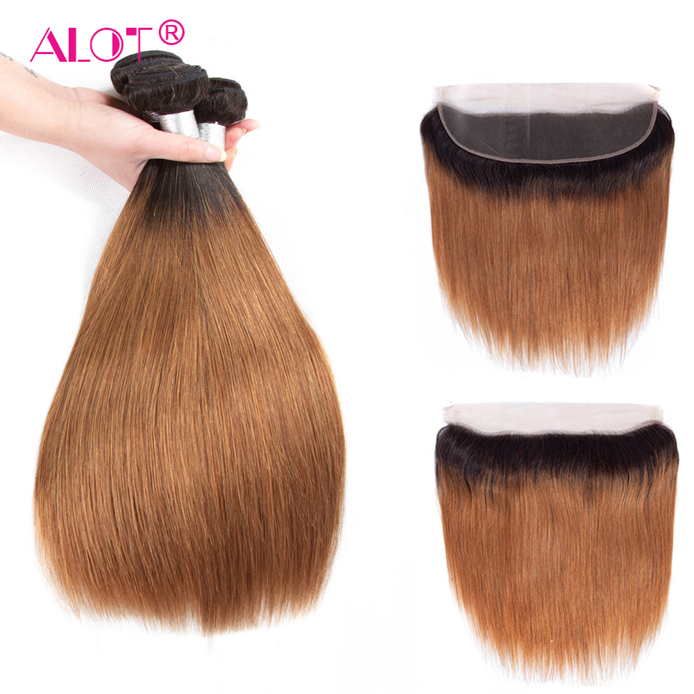 ALot 1B/30 Ombre Straight Human Hair Bundles With Frontal Non Remy Pre Colored Dark Root Brazilian Hair Weaving-in 3/4 Bundles with Closure from Hair Extensions & Wigs    1