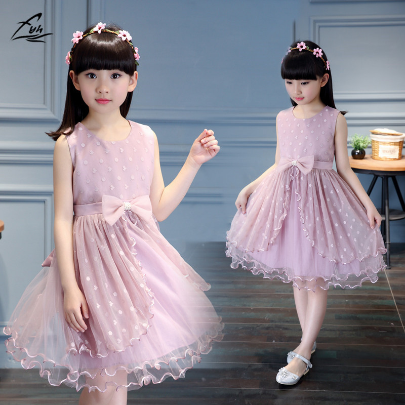 Baby Girl Clothes Girls' Princess Dress  Embroidery Bow  Beaded Pearls Dresses Elegant Lace Fashion Sleeveless Summer Dress автомобильный dvd плеер joyous kd 7 800 480 2 din 4 4 gps navi toyota rav4 4 4 dvd dual core rds wifi 3g