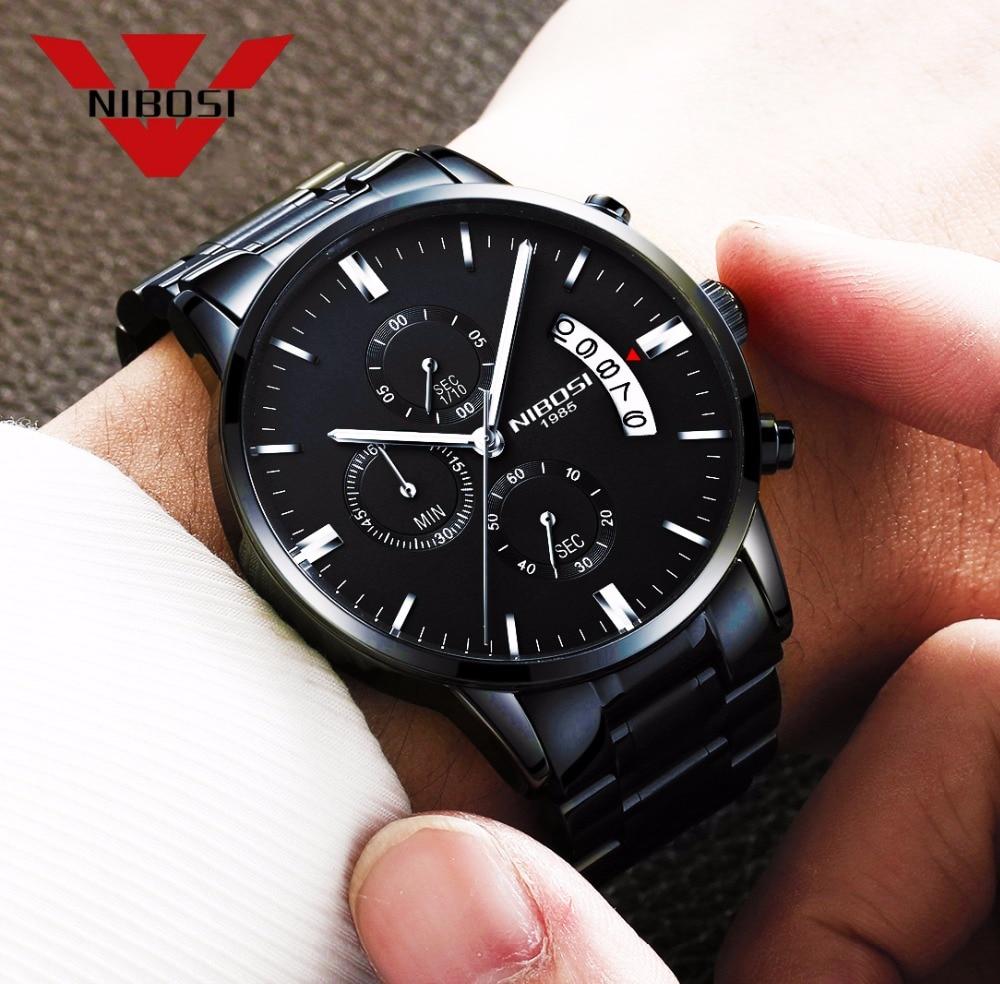 Metal negro reloj hombres relojes de lujo Top marca famosa de los hombres de moda reloj de cuarzo militar relojes Saat NIBOSI