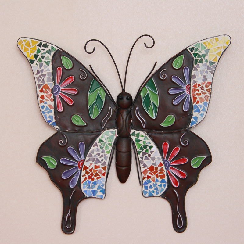 Iron butterfly muons wall fashion vintage rustic wall hangings colored drawing butterfly home decoration rysunek kolorowy motyle