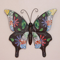 Iron butterfly muons wall fashion vintage rustic wall hangings colored drawing butterfly home decoration