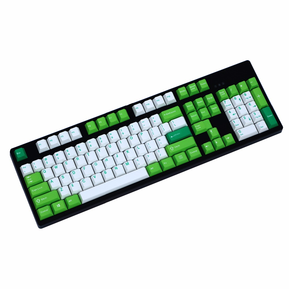 Cheese and green mix Thick PBT double shot 106 Keys Cherry Profile MX switches Mechanical Keyboard keycap Only sell keycaps|Keyboards| |  - title=