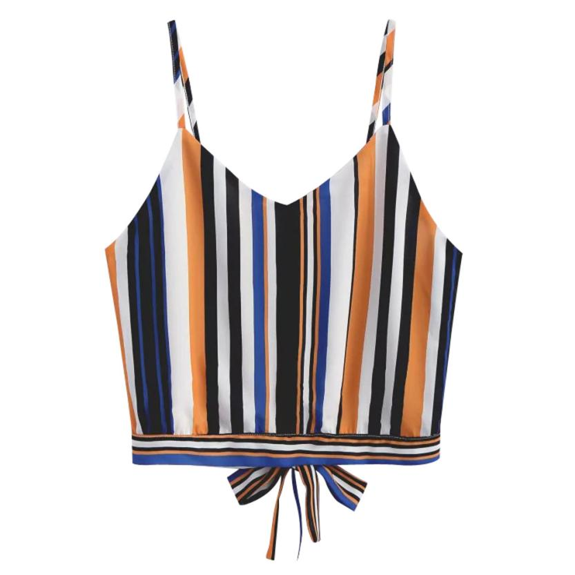 Fashion Lace Knot Front Striped Cami Top Women New Asymmetrical Spaghetti Strap Button Crop Top Vest 2019 Summer Sexy Vest