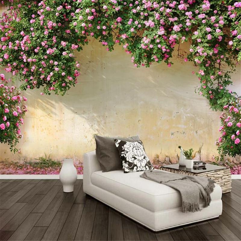 Beibehang 3D Tapete Rose Hintergrund Wand 3D Wohnzimmer Schlafzimmer TV  Hintergrund wandbild tapete für wände 3 d papel de parede