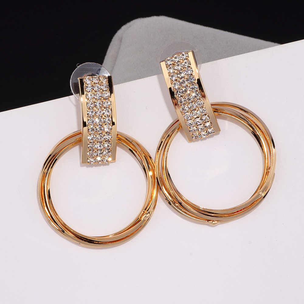 New Simple Design Personalized Earrings Brinco Gold Color Crystal Earring Big Metal Circle Drop Dangle Earrings For Women E1739