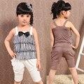 Roupa dos miúdos Conjuntos para Meninas Verão Conjuntos de Roupas de Moda de Algodão Colete + calça Casual Crianças Conjuntos de Ternos Sem Mangas Colete Infantil arco