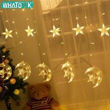 4.5 M 138 Lâmpada LED Luzes De Natal Seqüência de Luz Da Estrela Da Lua Decoração Da Janela Cortina Luzes para Quarto Casamento Festa Em Casa interior