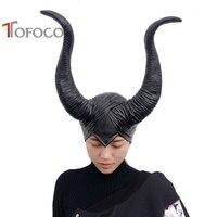 TOFOCO Mới Ác Đen Sừng Head Mask Hay Làm Điều Ác Phù Thủy Hat Mũ Sắt Halloween Đạo Cụ Cho Người Phụ Nữ Ưa Thích Trang Phục Cosplay Đồ Chơi
