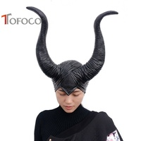 TOFOCO New Evil Black Horn Head Mask Maleficent Horns Sleeping Beauty Witch Hat Headpiece Props Fancy