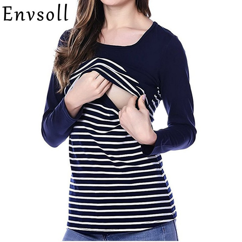 Envsoll Nursing Maternity Clothes Breastfeeding Tops Striped T-shirt Breastfeeding Clothing Matertniy Colthes for Pregnant Women