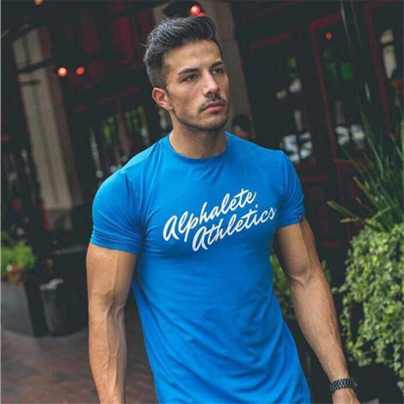ALPHALETE koszulka letnia moda męskie siłownie odzież bawełniana z krótkim rękawem z krótkim rękawem Slim Fit T Shirt Ftiness mężczyźni kompresja Tshirt Homme