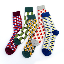 Happy Plaid British Style Gentleman Tide Socks Casual Cool Pattern Crew Street Skate Cotton Short Funny Women Men