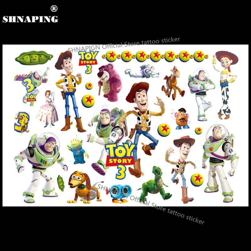 SHNAPIGN Toy Story Woody Buzz Child Temporary Tattoo Body Art Flash Tattoo Stickers 17*10cm Waterproof Henna Styling Sticker