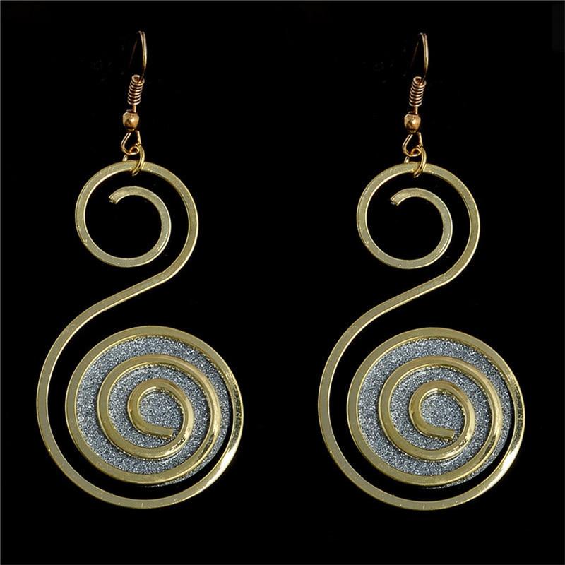 Womens Retro Boho Spiral Gold Filled Eardrops Party Hook Dangle Earrings TL300