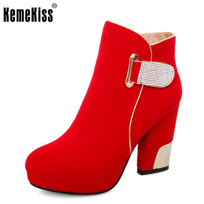 Free Shipping ankle half short high heel boots women snow fashion winter warm boot footwear shoes P10267 EUR size 34-43