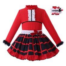 bba1aae3f Pettigirl rojo otoño Niñas Ropa conjunto con sombreros Tops de manga larga  + falda a cuadros Boutique niño trajes G-DMCS107-B358