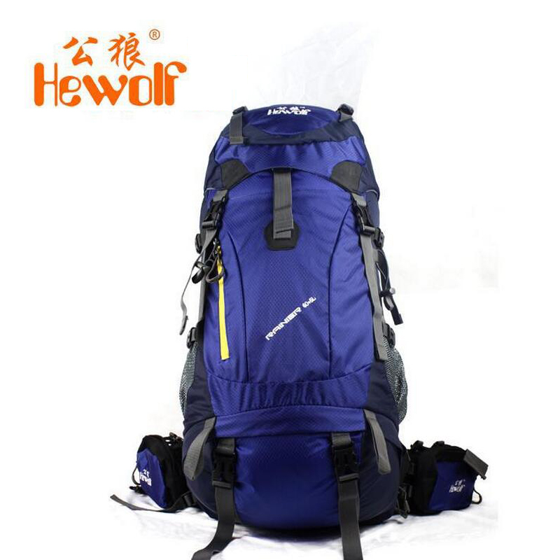 Hewolf Outdoor camping bag men and women travel hiking backpack 65L rucksack waterproof backpack for hunting fishing lemochic high 65l outdoor mountaineering bag waterproof sport travel backpack camping hiking shiralee luggage canvas rucksack