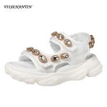 VIISENANTIN Thick-soled Sandals Female 2019 Summer Ins Hot Street Shot Fashion Comfortable Rhinestones Mesh Roman Shoes Woman