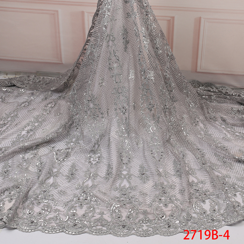 2019 Latest French Nigerian Laces Fabrics High Quality African Tulle Lace Fabric With Sequins Beads For Wedding KS2719B-4