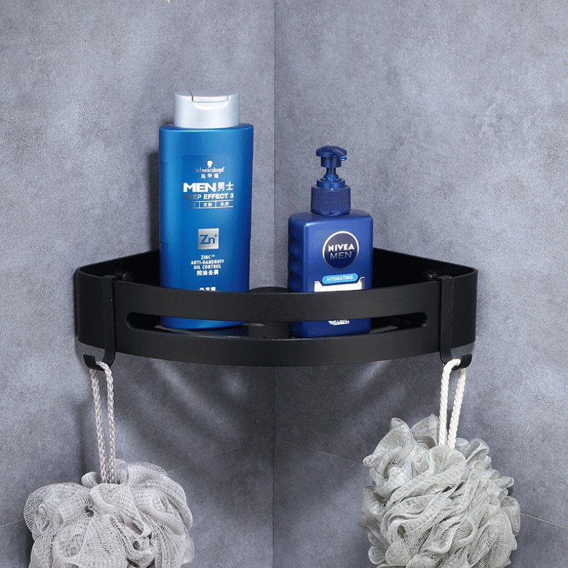 Image 4 - Space aluminum Black Bathroom Shelves Wall Mount Corner Shower Rack Shampoo Storage Rack Bathroom AccessoriesBathroom Shelves   -