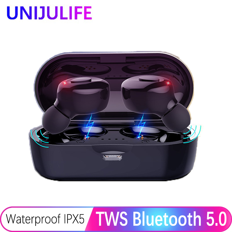 Bluetooth Earphones True Wireless Headphones 5.0 TWS In-Ear Earbuds IPX5 Waterproof Mini Headset 3D Stereo Sound Sport Earpiece