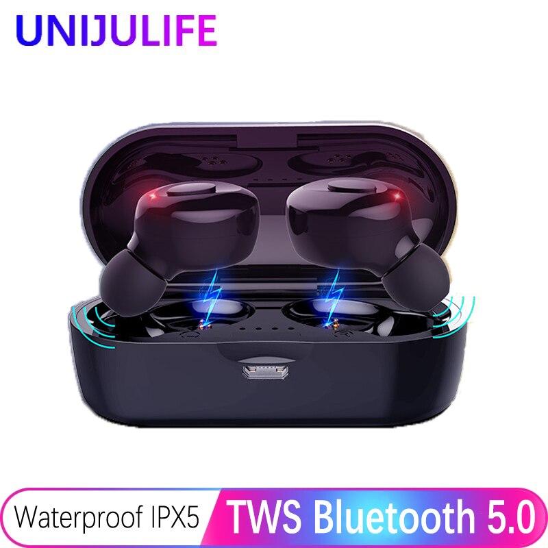 Écouteurs Bluetooth véritable casque sans fil 5.0 TWS écouteurs intra-auriculaires IPX5 étanche Mini casque 3D stéréo son Sport écouteur